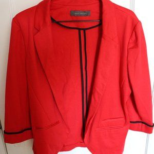 Red 3/4 Sleeve Blazer with Black Details